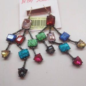 Betsey Johnson New Rhinestone Chandelier Earrings